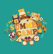 Summer camp, vector. Stock Illustration