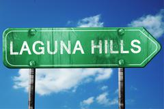 laguna hills road sign , worn and damaged look - stock illustration