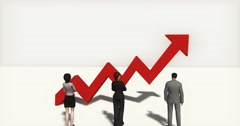 4k business team standing on the top of 3d red positive trend arrow. Stock Footage