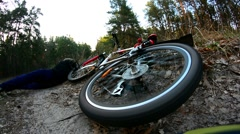 Girl hurt crashing bicycle accident - stock footage