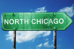 north chicago road sign , worn and damaged look - stock illustration