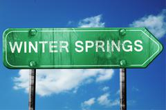 Stock Illustration of winter springs road sign , worn and damaged look