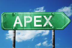 apex road sign , worn and damaged look - stock illustration