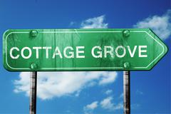 Stock Illustration of cottage grove road sign , worn and damaged look
