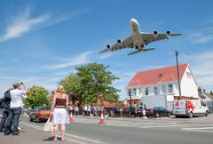 Airbus A380 arrival Stock Photos