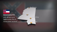 3D animated Map of Mississippi - stock footage