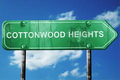 cottonwood heights road sign , worn and damaged look - stock illustration