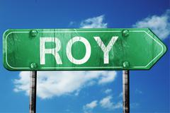 Stock Illustration of roy road sign , worn and damaged look