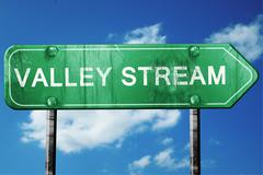 Valley stream road sign , worn and damaged look Stock Illustration