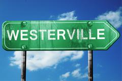 westerville road sign , worn and damaged look - stock illustration