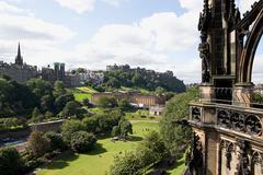 View of edinburgh from scotts monument - stock photo