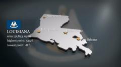 3D animated Map of Louisiana Stock Footage