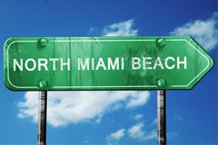north miami beach road sign , worn and damaged look - stock illustration