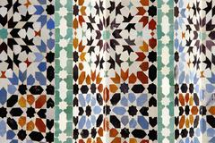 Full frame shot of Moroccan tiles at Ben Youssef Madrasa, Marrakesh, Morocco Stock Photos