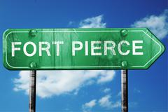 Fort pierce road sign , worn and damaged look Stock Illustration