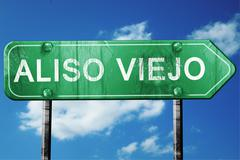 aliso viejo road sign , worn and damaged look - stock illustration