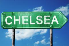 Stock Illustration of chelsea road sign , worn and damaged look