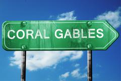 coral gables road sign , worn and damaged look - stock illustration