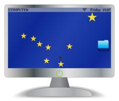 Alaska Computer Screen With On Button - stock illustration