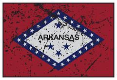 Arkansas State Flag Grunged - stock illustration