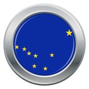 Alaska Flag Silver Icon Stock Illustration