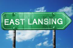 east lansing road sign , worn and damaged look - stock illustration