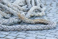 Old naval rigging rope Stock Photos