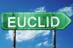 euclid road sign , worn and damaged look - stock illustration