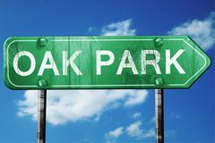 oak park road sign , worn and damaged look - stock illustration