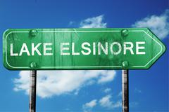 lake elsinore road sign , worn and damaged look - stock illustration
