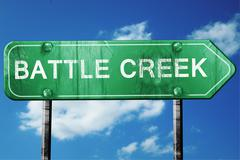 battle creek road sign , worn and damaged look - stock illustration