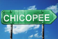Stock Illustration of chicopee road sign , worn and damaged look
