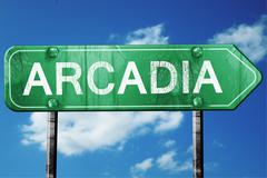 arcadia road sign , worn and damaged look - stock illustration