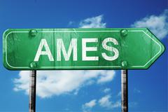 ames road sign , worn and damaged look - stock illustration