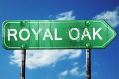 royal oak road sign , worn and damaged look - stock illustration