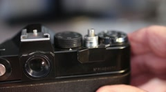 Old film photocamera Stock Footage