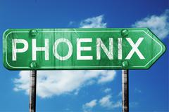 phoenix road sign , worn and damaged look - stock illustration