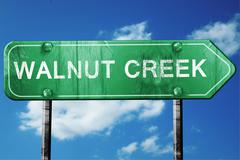 Walnut creek road sign , worn and damaged look Stock Illustration