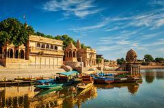 Indian landmark Gadi Sagar in Rajasthan Stock Photos
