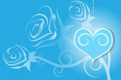 Valentines Day with rose and heart blue background - stock illustration
