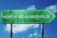 north richland hills road sign , worn and damaged look - stock illustration