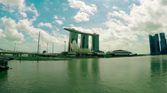 Singapore view on Marina Bay Sands. Panoramic view. static camera. - stock footage