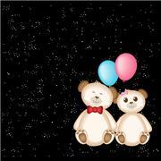 Teddy Bear and balloons - stock illustration