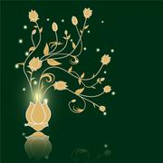 Floral abstract vector green background - stock illustration