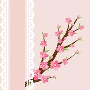 Cherry blossom branch on pink background Stock Illustration