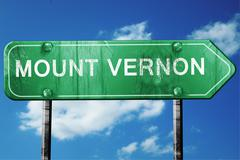 mount vernon road sign , worn and damaged look - stock illustration
