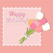 Happy Mother's day With Tulip flowers background Stock Illustration
