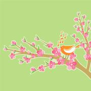 Cherry blossom branch with bird and music notes. - stock illustration
