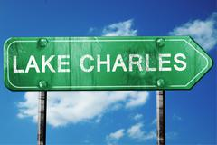 Stock Illustration of lake charles road sign , worn and damaged look