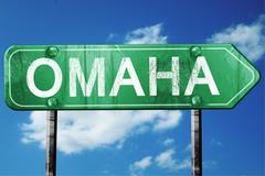 omaha road sign , worn and damaged look - stock illustration